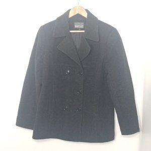 Manteaux Manteaux   Black Wool Blend Pea Coat M